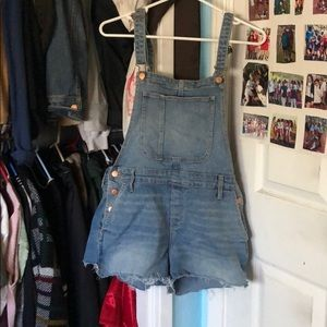 Old navy frayed overalls